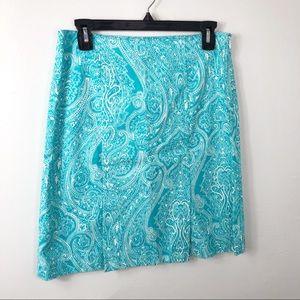 Talbots Aqua Blue White Paisley Skirt 4P
